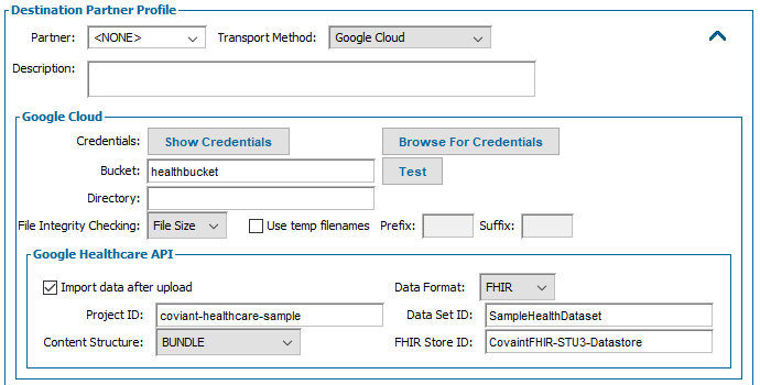 Google Cloud Healthcare Configuration Screenshot